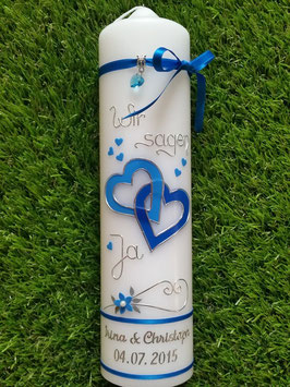 Hochzeitskerze HK205 Wir sagen Ja! in Mittelblau & Türkis Uni