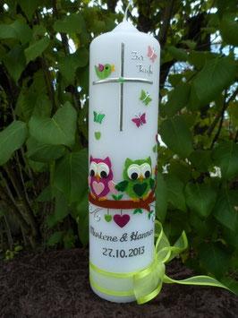 Taufkerze Eulen für Zwillinge 2in1 TK180 Pink-Rosa & Apfelgrün-Grün Flitter