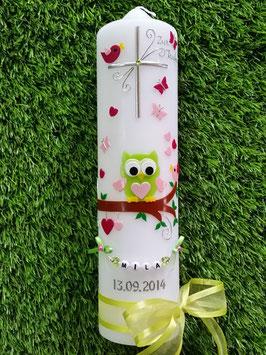 Taufkerze EULE das Original mit Buchstaben-Kette TK181 in Apfelgrün-Rosa-Pink Uni