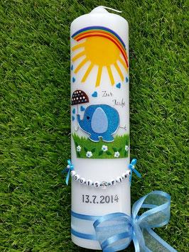 Taufkerze Elefant TK210 Türkis-Hellblau Flitter mit Sonne & Regenbogen