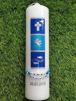 Taufkerze TK098-1 Symbole Dunkelblau-Türkis Holoflitter Ohne Band!