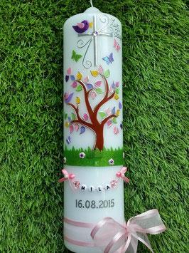 Taufkerzen  Lebensbaum rosa mit Buchstabenkette  TK400-2