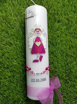 Taufkerze Schutzengelkerze SK119 Pink Holoflitter / Buchstabenkette / Organzaschleife