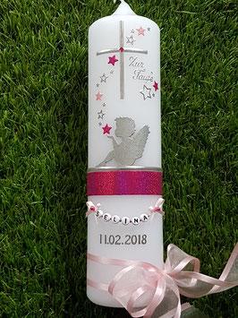 Taufkerze SK154-1 SCHUTZENGEL sitzend Pink-Rosa Holoflitter & Silber