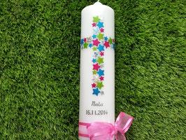 Taufkerze TK201 Kreuz Pink-Apfelgrün-Silber-Türkis Flitter & Silberschrift