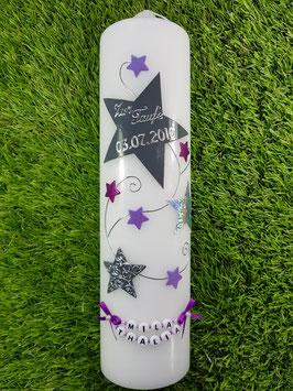 Taufkerze od. Kerze für Sternenkinder KSK300 Silber-Grau-Brombeerlila-Flieder Holoflitter