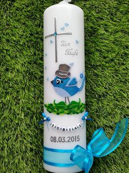 Taufkerze Vögelchen TK178 Türkis-Hellblau Flitter / Zylinder Anthrazit