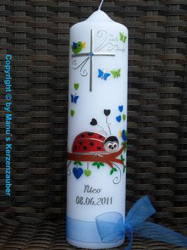 Taufkerze Marienkäfer TK187 Türkis-Apfelgrün