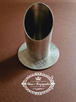 Kerzenständer mit Streifenmuster  KST 130-3-40 Silber glänzend / matt