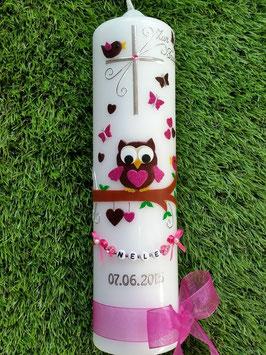 Taufkerze EULE das Original mit Buchstaben-Kette TK181 in Braun-Pink Flitter
