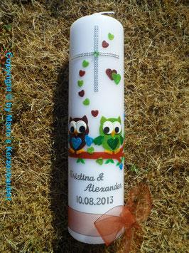 Hochzeitskerze Verliebte Eulen HK216 Braun-Apfelgrün