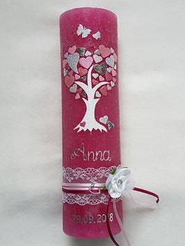 Vintage Rustic Taufkerze Lebensbaum TK405-V / Kerze in Pink / Rosa-Zartrosa-Silber-Altrosa Holoflitter