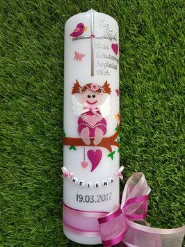 Taufkerze SK155 SCHUTZENGEL mit Spruch / Pink-Rosa Holoflitter