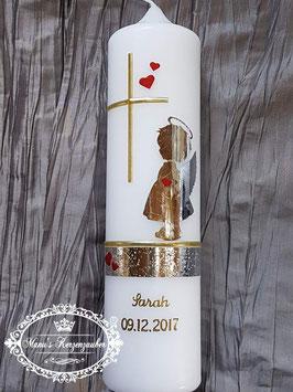 Taufkerze SK154-a SCHUTZENGEL mit Herzen in Silber-Gold-Rot Holoflitter