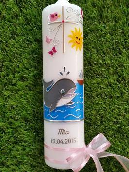 Taufkerze Meer & Wal TK114 Rosa-Pink Silberschrift & Schleife