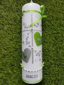 Taufkerze TK109 Klassisch Apfelgrün Holoflitter & Buchstabenkette / Bambi & Taube