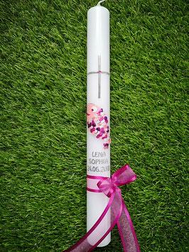 """Tauf oder Kommunionkerze Fisch Herzschuppen© TK196 Rosa-Pinktöne  >> DAS ORIGINAL©"""" /Band Pink/Silberschrift"""