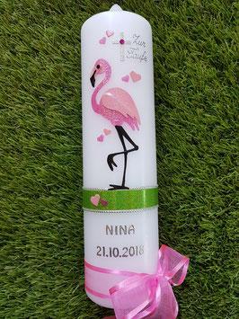 "Taufkerze TK269 ""Flamingo"" in Fuchsia-Rosa Holoflitter"
