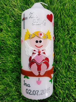 Patenkerze SK155 SCHUTZENGEL Rot-Rosa Holoflitter / Blonde Haare / Silberschrift