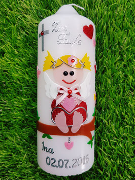 Patenkerze SK155 SCHUTZENGEL Rot-Rosa Holoflitter / Blonde Haare