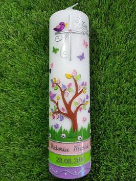 Taufkerzen  Lebensbaum Rosa-Apfelgrün-Flieder Flitter & Silberschrift TK400-U