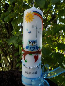 Taufkerze EULE  mit Regenbogen & Kette TK181 Hellblau-Dunkelblau Flitter
