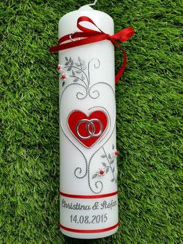 Hochzeitskerze klassisch HK208 Rot Uni