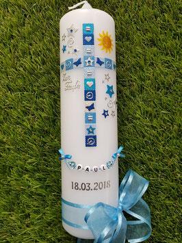 Mosaik Tauf- Kommunionkerze KK098 mit Sonne / Hellblau-Lichtblau-Türkis-Dunkelblau-Silber