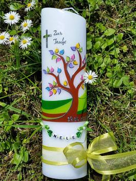 Taufkerze  Lebensbaum mit Buchstabenkette & Apfelgrünes Satinband TK400