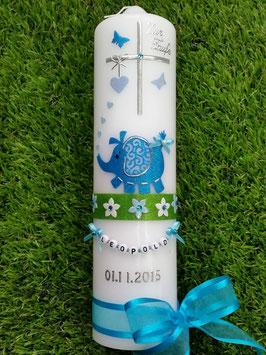 Taufkerze Elefant TK210-7 Türkis-Hellblau Holoflitter