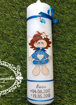 Schutzengelkerze Mädchen SK104 Lichtblau Glitzer & Silberschrift
