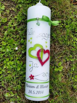 Hochzeitskerze HK205 Apfelgrün-Pink Uni / Wir sagen Ja!