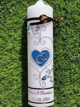 Hochzeitskerze HK208 Klassisch Türkis-Braun
