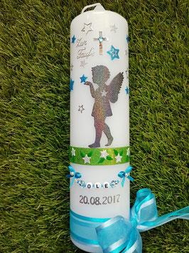 Taufkerze SK154-2 SCHUTZENGEL stehend & Sterne Anthrazit-Türkis-Silber Holoflitter / Buchstabenkette