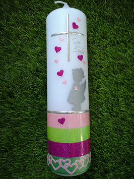 Taufkerze Schutzengel TK152-a-U mit Untergrund / Rosa-Apfelgrün-Pink-Grünen Holoflitter