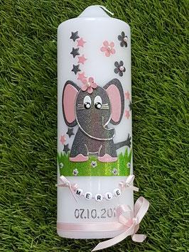 Taufkerze Elefant TK210-8 in Anthrazit-Rosa Holoflitter / Sterne