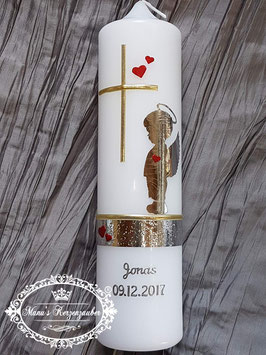 Taufkerze SK154-a SCHUTZENGEL Junge mit Herzen in Silber-Gold-Rot Holoflitter