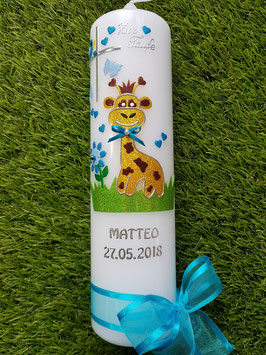 """Taufkerze TK278 """"Giraffe"""" in Gelb-Braun-Türkis-Hellblau Flitter/ Silberschrift"""