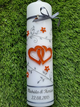 Hochzeitskerze Silber-Orange HK204 Klassisch
