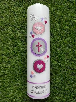 Taufkerze Symbole TK307 in Flieder-Rosa-Pink-Silber Holoflitter / Taube Silber Holoflitter