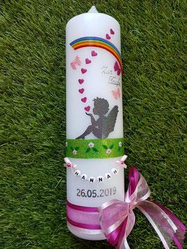 Taufkerze SK154-1 SCHUTZENGEL sitzend Anthrazit-Rosa-Pink Holoflitter & Regenbogen / Doppelschleife
