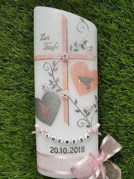 Taufkerze TK109 Zartrosa Holoflitter mit Bambi, Herzen & Buchstabenkette / Breite Satin-Organzaschleife