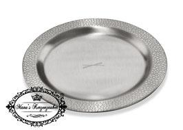 Kerzenteller Lederoptik KST 176 Silber rund 10 cm