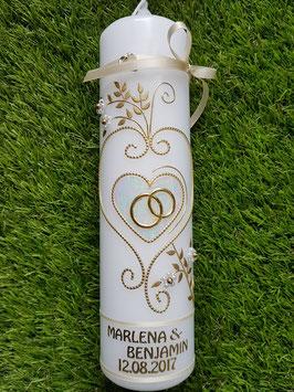 Hochzeitskerze klassisch HK208 Creme Marmoriert-Gold