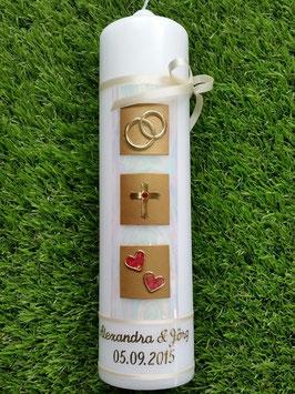Sehr edle Hochzeitskerze HK210 Perlmutt-Gold-Rot mit Kreuz >> Symbole vertauscht !