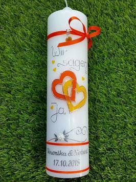 """Hochzeitskerze HK205 Orange & Gelb """"UNI"""" Wir sagen Ja!"""