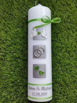 Sehr edle Hochzeitskerze HK210-5 Apfelgrün Holoflitter mit Tauben!