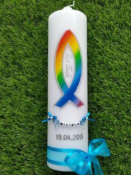 Kommunionkerze Konfirmationskerze Taufkerze KK272 in Regenbogen Farben