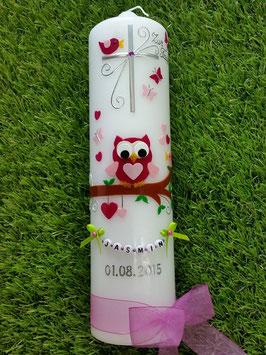 Taufkerze EULE das Original mit Buchstaben-Kette TK181 in pink-rosa ohne Flitter