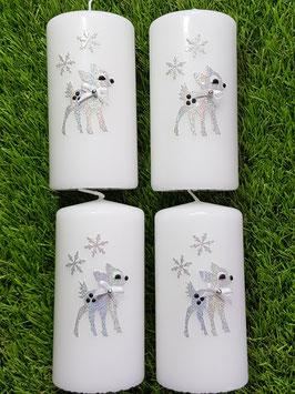 4 Adventskranzkerzen AK205 Bambi mit Eiskristall Silber Holoflitter